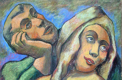 Pastel of a Man and a Woman